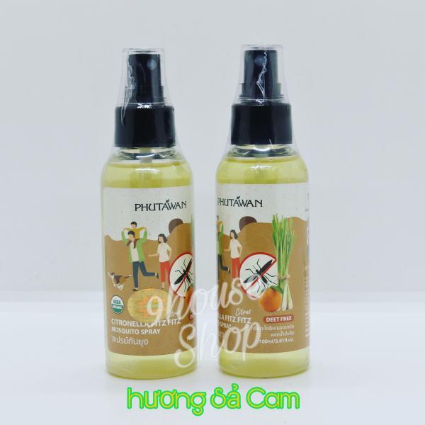 (Sả & Cam) 01 chai Xịt chống muỗi Citronella Phutawan Thái Lan 100ml