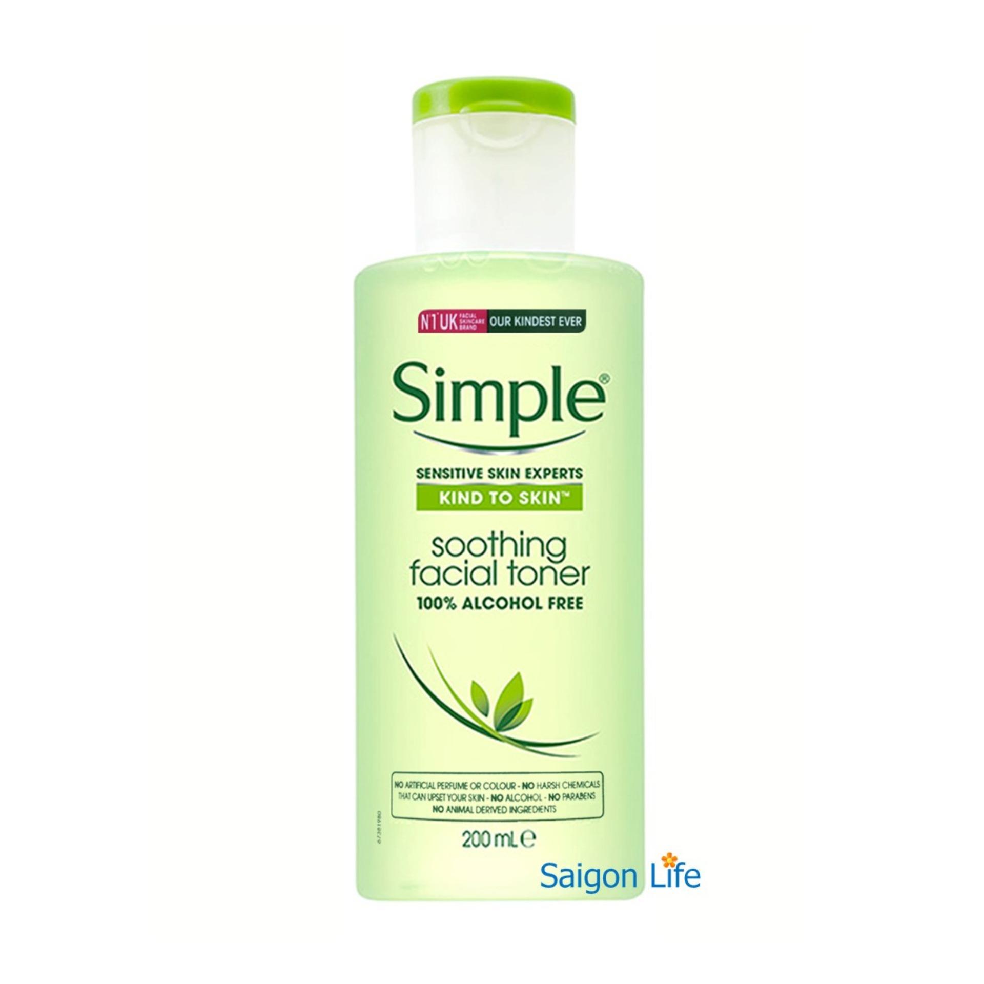 Nước hoa hồng Simple Kind To Skin Soothing Facial Toner 200ml (Mẫu mới)