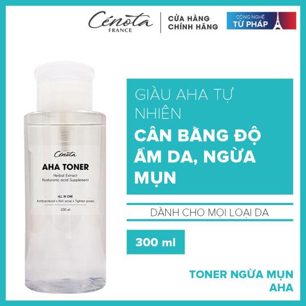 Nước hoa hồng dành cho da mụn không chứa cồn, corticoid - Giúp cân bằng độ ẩm và se khít lỗ chân lông Cénota Aha Toner 300ml