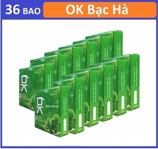 Combo 12 hộp bao cao su OKHQ Bạc hà mát lạnh hộp 3c