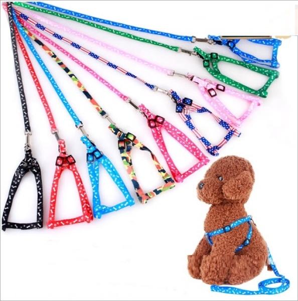 HN- Dây dắt chó mèo kèm dây yếm đai yên ngựa (2 Size)  loại dây mỏng 1 lớp / xích chó vải / dát chó vải / dây dắt thú cưng / dây dắt mèo / dây đai dẫn chó