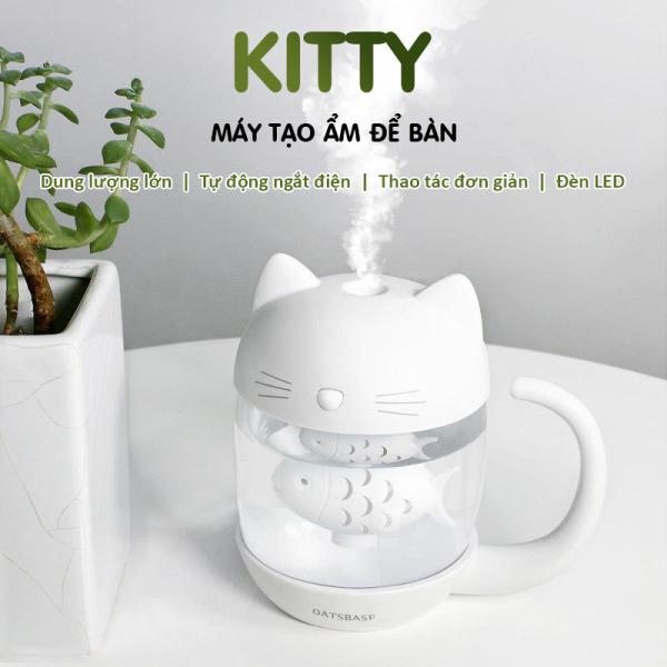 Máy Phun sương / Tạo ẩm Con Mèo thích Con Cá kết nối cổng USB, kết nối Đèn và Quạt 3 in 1, Dùng làm đèn ngủ