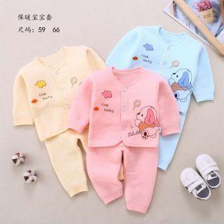 Bộ dài tay trần bông cho bé sơ sinh 3-10kg hàng đẹp xuất Nhật thumbnail