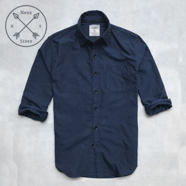 Áo sơ mi denim nam dài tay xanh kẻ đỏ đô regular fit chất liệu oxford 100% cotton