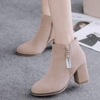 Giày Nữ Ngắn Gót Dày Thời Trang Mới 2020