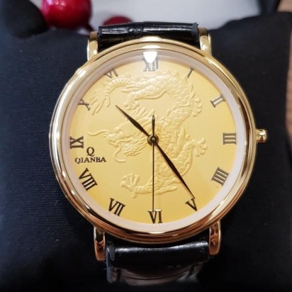 Đồng hồ nam Quaiba 018 mặt vàng hình rồng 3D chính hãng Tony Watch 68