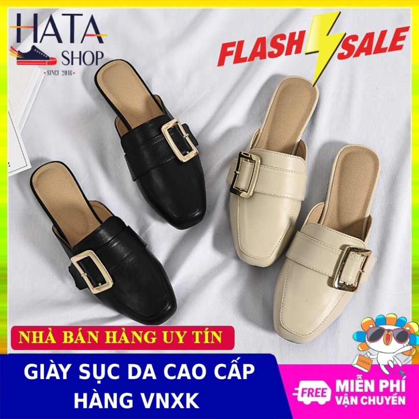 Giày sục nữ mũi vuông chất liệu da cao cấp phong cách Hàn Quốc chống nước, đế cao 3 cm mang êm chân, sang trọng phù hợp đi học, đi chơi, đi làm công sở giá rẻ