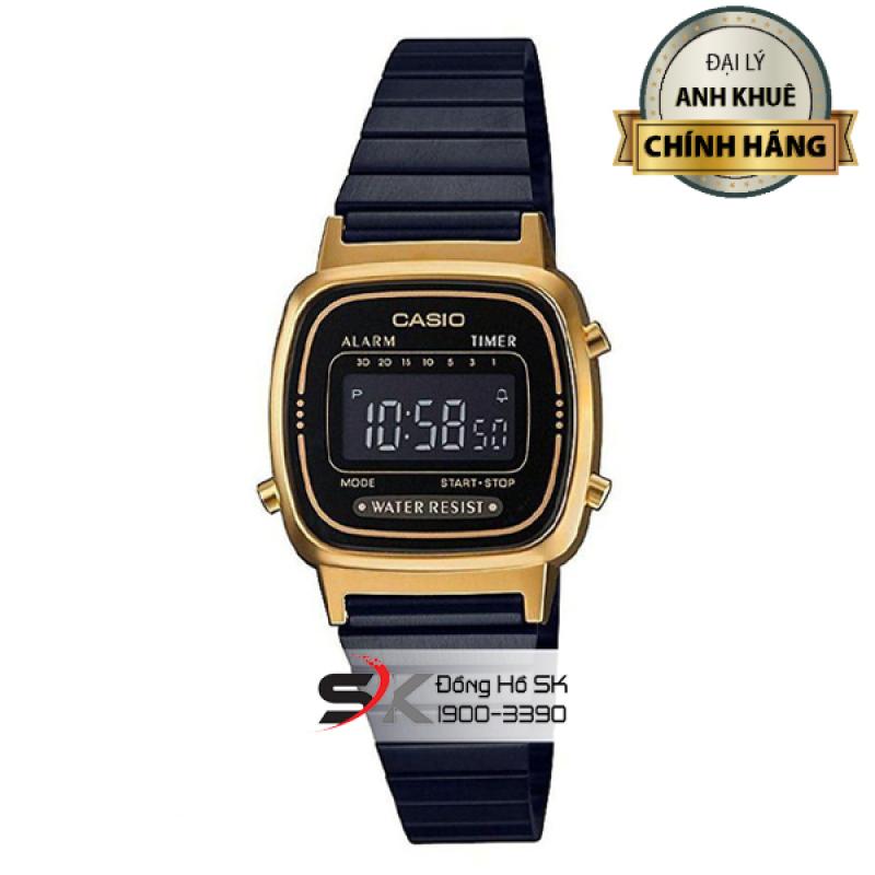 Đồng Hồ Casio Nữ LA670WEGB-1BDF Mặt Vuông Màu Đen Viền Vàng Dây Kim Loại Màu Đen Chính Hãng Casio Anh Khuê