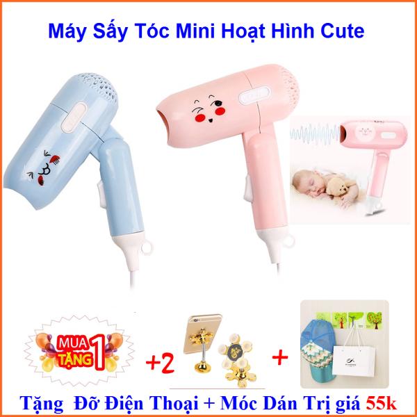 Máy Sấy Tóc Mini Cute Tặng Kèm Gía Đỡ + Miếng Dán Trị Gía 55k- KIM DUNG STORE