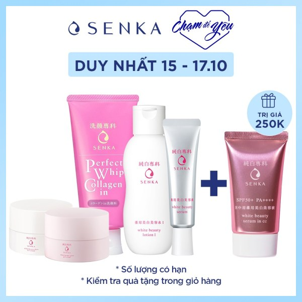 Bộ sản phẩm dưỡng trắng Senka nhập khẩu