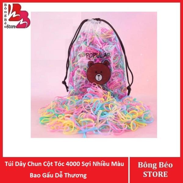 [HCM]Túi Dây Chun Cột Tóc 4000 Sợi Nhiều Màu Bao Gấu Dễ Thương