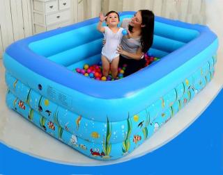 Bể bơi phao trong nhà, hình chữ nhật kích thước 150cm cao cấp cho các bé chơi đùa chơi với nước tại nhà , Bể bơi trẻ em loại tốt , dày dặn , chống trơn trượt , Bảo hành uy tín lỗi 1 đổi 1 thumbnail