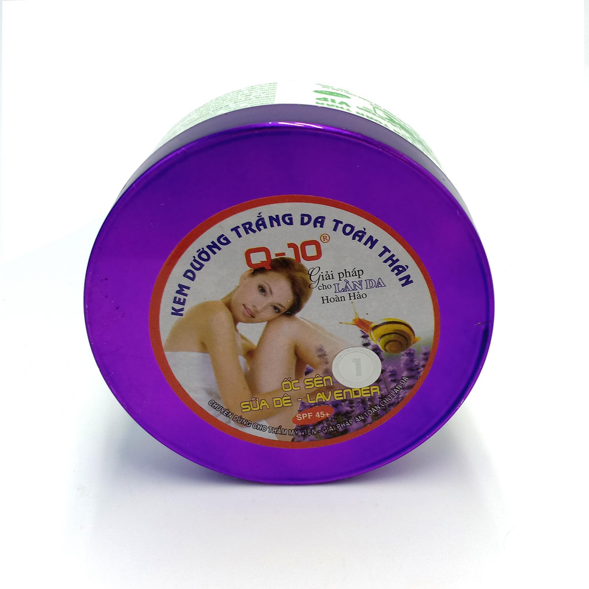 Kem dưỡng trắng da toàn thân Ốc sên - Sữa dê - Lavender Q10 200g (Tím - Trắng)