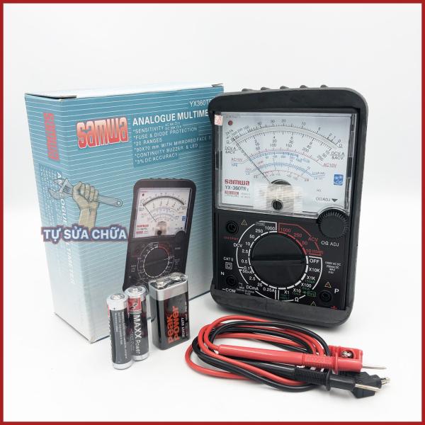 FREESHIPMAX - Đồng hồ đo điện vạn năng VOM Samwa YX360TRe tặng kèm pin, có còi báo, ốp da bọc đồng hồ vạn năng kim