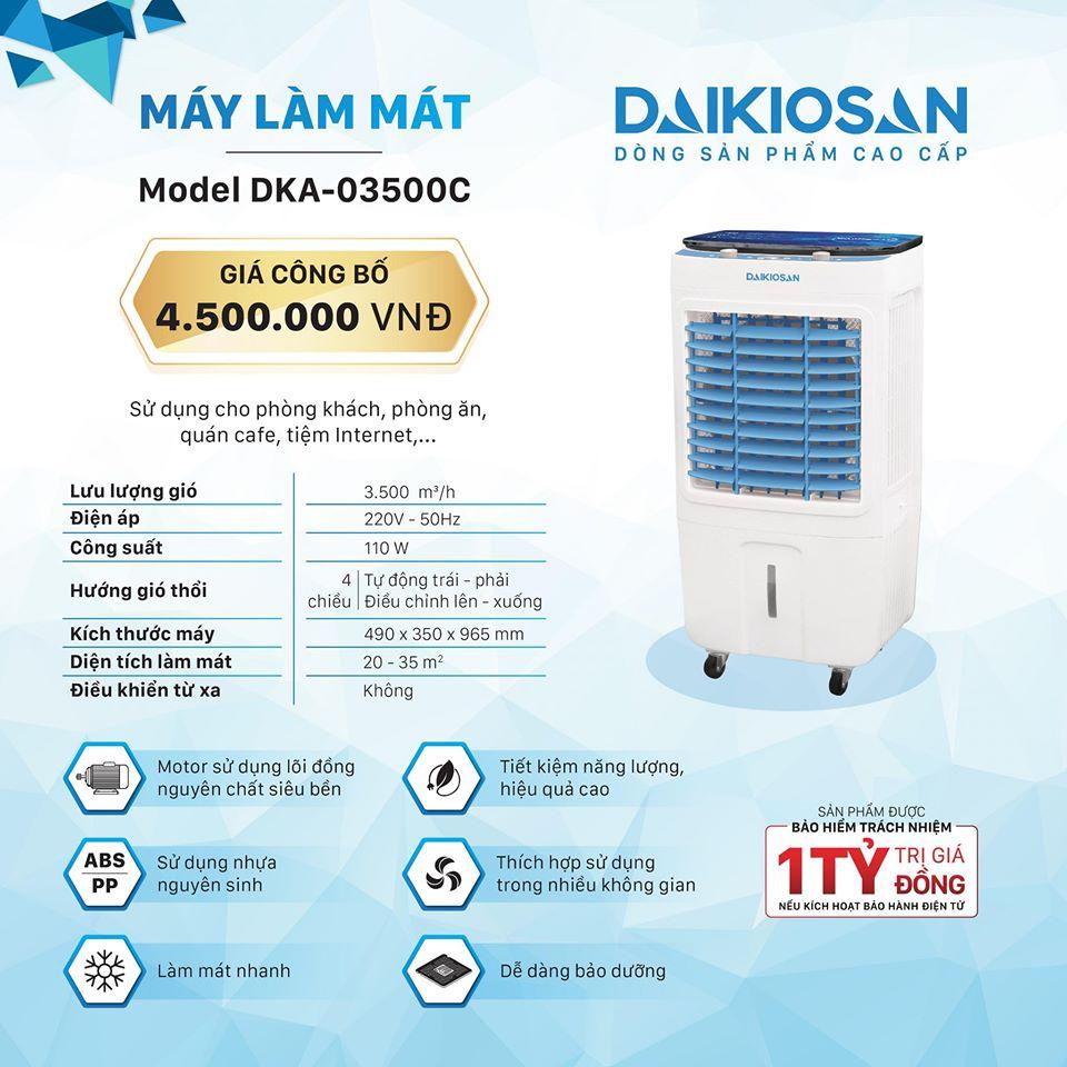 Bảng giá Máy làm mát không khí quạt điều hòa Daikiosan là dòng sản phẩm cao cấp thân thiện cho môi trường model DKA-03500C