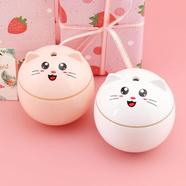 Máy xông tinh dầu tạo độ ẩm, đèn xông tinh dầu mini hình con mèo, thiết kế nhỏ gọn 300ml, có đèn led, khuếch tán tinh dầu, tạo cảm giác mát mẻ, DX70- Globall Mart