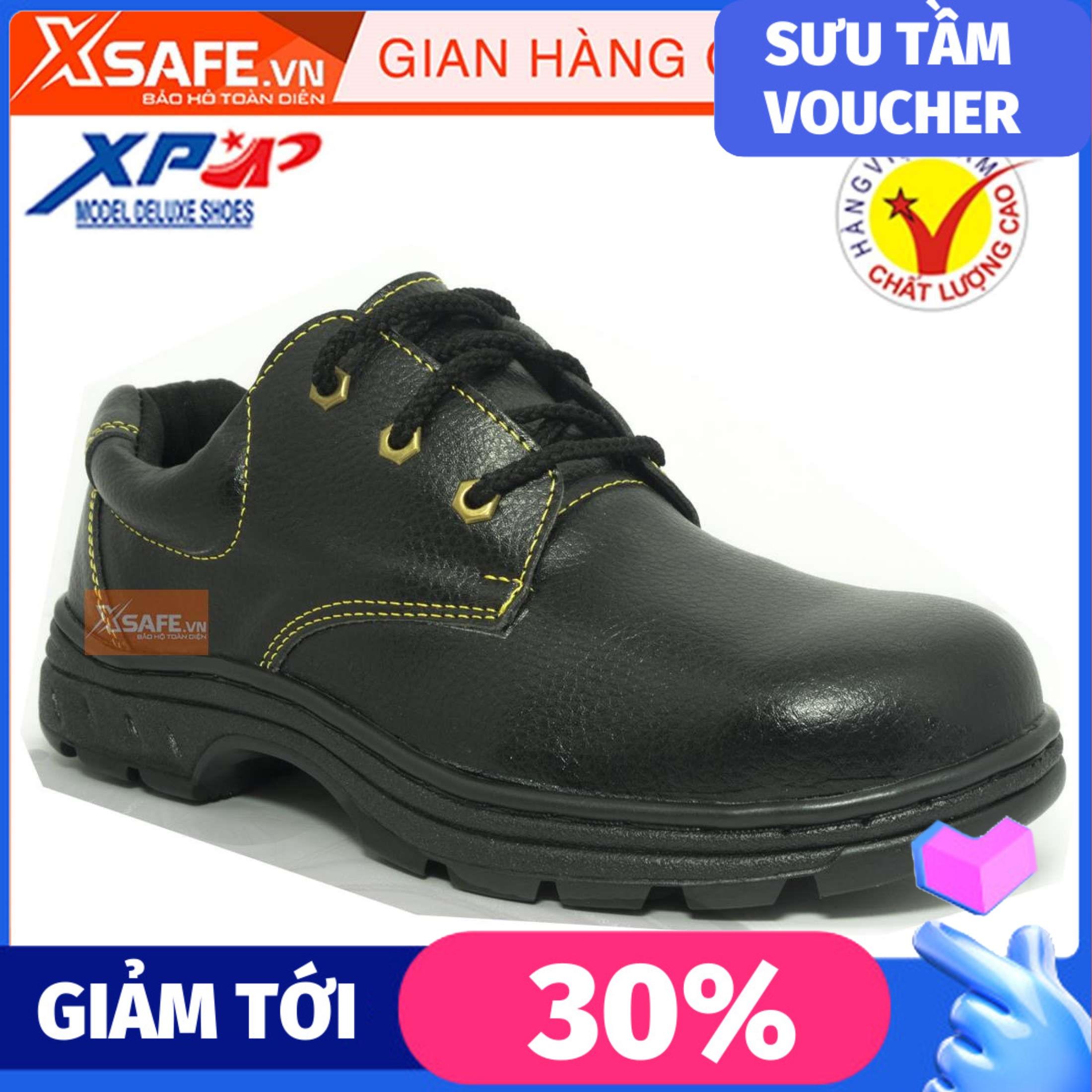 Giày bảo hộ lao động XP mũi và lót thép chống đinh chống dập ngón chống nước, chống va đập (xanh đen)