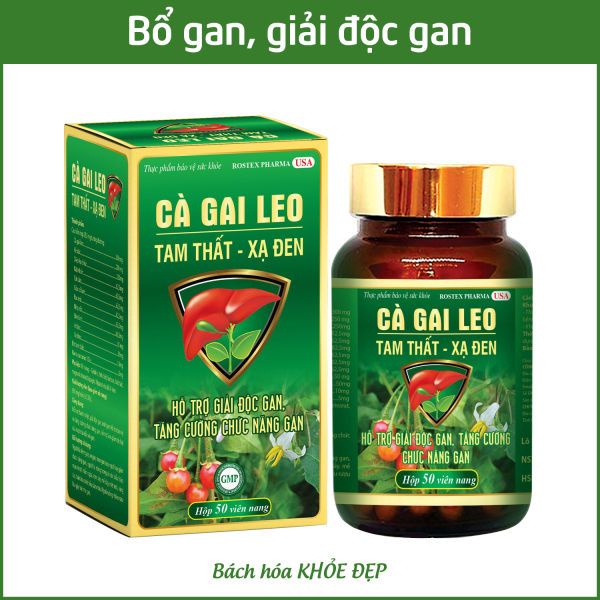 Viên uống bổ gan Cà Gai Leo Tam Thất Xạ Đen mát gan, giải độc gan - Chai 50 viên