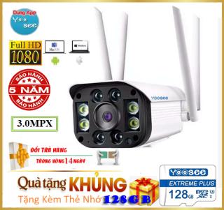 (KÈM THẺ SD YOOSEE 128GB giá 450kCÓ MẦU BAN ĐÊM) camera wifi CMR 4 RÂU 3.0mpx ,camera ngoài trời , camera trong nhà , camera chống nước , camera yoosee 4 râu 3.0 Mpx FullHD 1920 x 1080P -4 đèn hồng ngoại và 4 đèn LED-NEW 2019 thumbnail