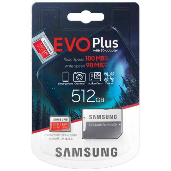 Thẻ nhớ MicroSDXC Samsung Evo Plus 512GB U3 4K R100MB/s W90MB/s - box Anh New 2020 (Đỏ) + Kèm Adapter - Made in Korea - Nhất Tín Computer