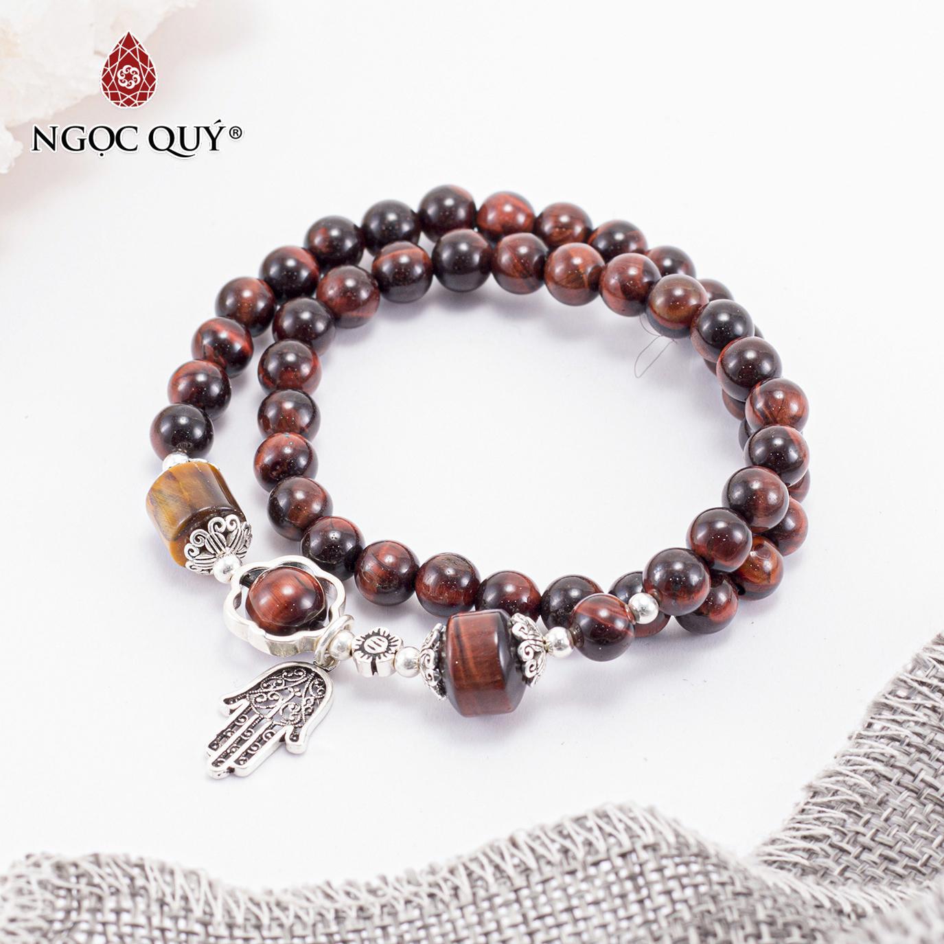 Vòng chuỗi hạt đeo tay 2 Line Đá Thạch Anh Mắt Hổ Đỏ Phối Charm Bạc Mệnh Hỏa , Thổ - Ngọc Quý Gemstones