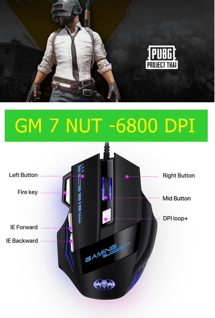 Giá chuột game ghìm tâm GM - 7 NÚT - 6800 DPI - ĐÈN 7 MÀU THEO CẤP ĐỘ DPI- BH 12THÁNG