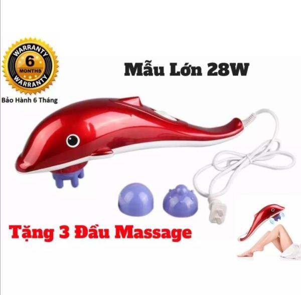 Máy massage, máy đấm lưng cá heo cầm tay loại lớn 3 đầu