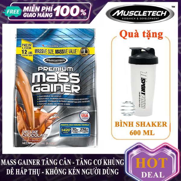 [TẶNG BÌNH LẮC] Sữa tăng cân tăng cơ Premium Mass Gainer của MuscleTech bịch 5.4 kg dễ hấp thu, không kén người dùng, có enzym tiêu hóa cho người gầy, kén ăn, khó hấp thu - thực phẩm bổ sung