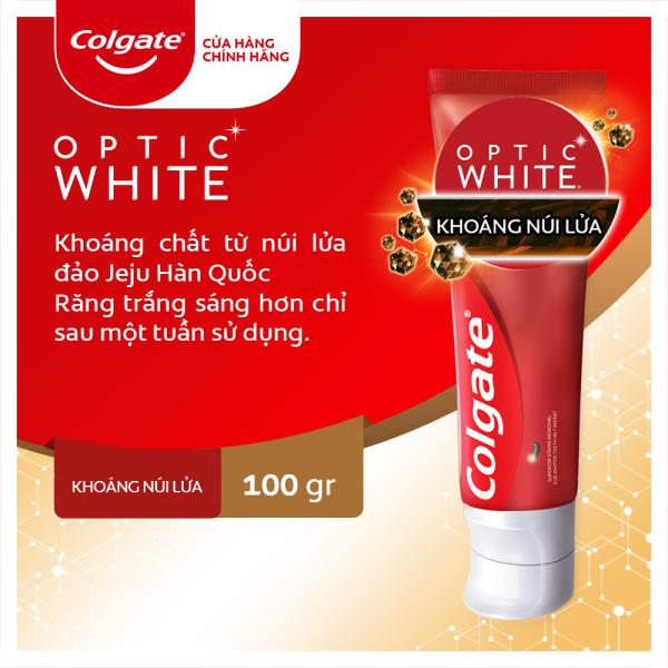 Kem đánh răng làm trắng sáng Colgate Optic White từ khoáng núi lửa Hàn Quốc 100g giá rẻ
