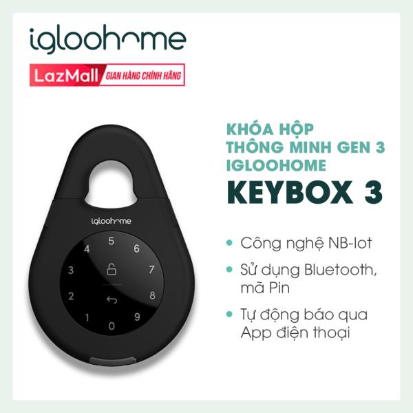 Khóa Hộp Thông Minh Gen 3 Igloohome - Keybox 3 - Công nghệ NB-IoT - Sử dụng Bluetooth, Mã Pin, Tự động báo qua App điện thoại - Hàng Phân Phối Chính Hãng - IGK3