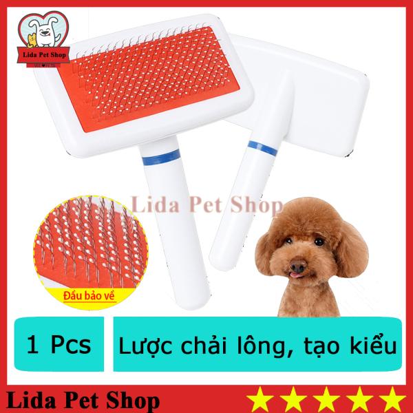 HN- SP510 - Lược nhựa tròn cán trắng chải xù ( 4711772) lược chải lông chó mèo tay tròn-HP11004TC