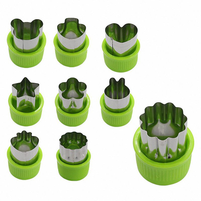 9pcs Mini Cookie Cutters Pie Crust Vegetable fruit Cutter baking Set tools accessories with bear stars rabbits mushrooms strawberry Heart cookie cutter shapes