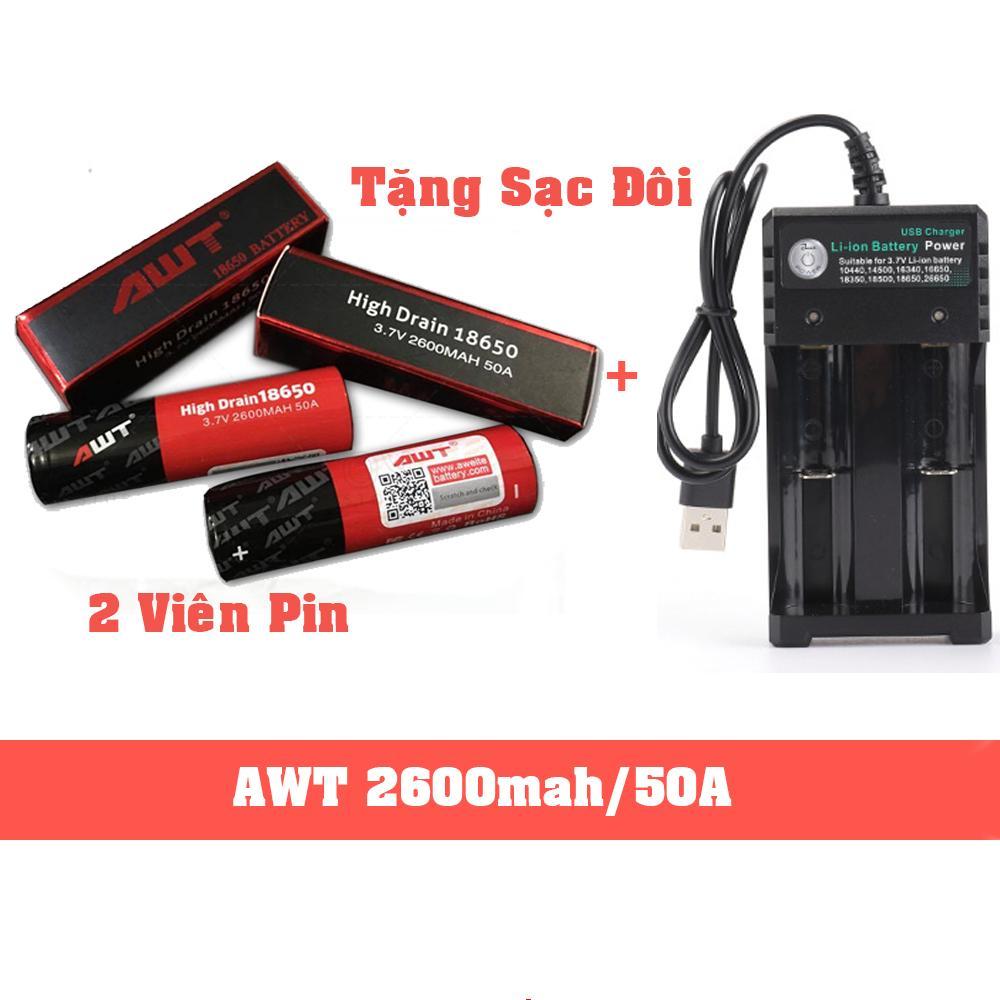 Combo 2 Viên Pin AWT 50A 2600mah 18650 - Sản Phẩm Chất Lượng Dành Cho Vape