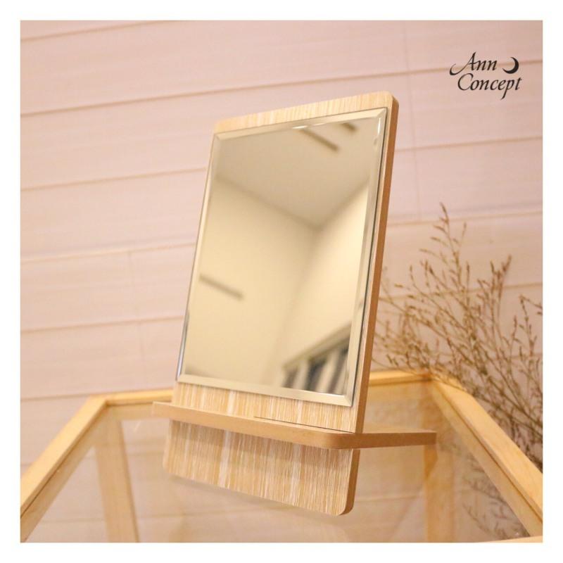 [HCM]Gương soi để bàn cố định màu vân gỗ