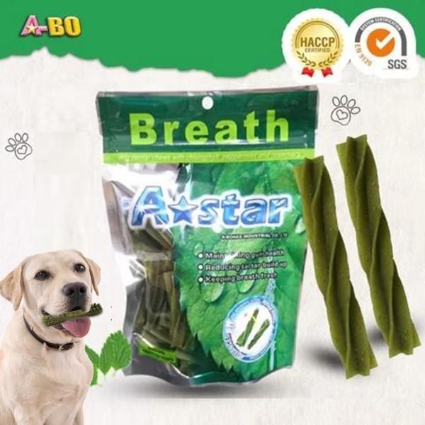 Xương gặm cho chó A-star 90g Hình xoắn xanh diệp lục, Xương gặm sạch răng cho chó cao cấp, giúp thơm miệng, ngừa viêm nướu