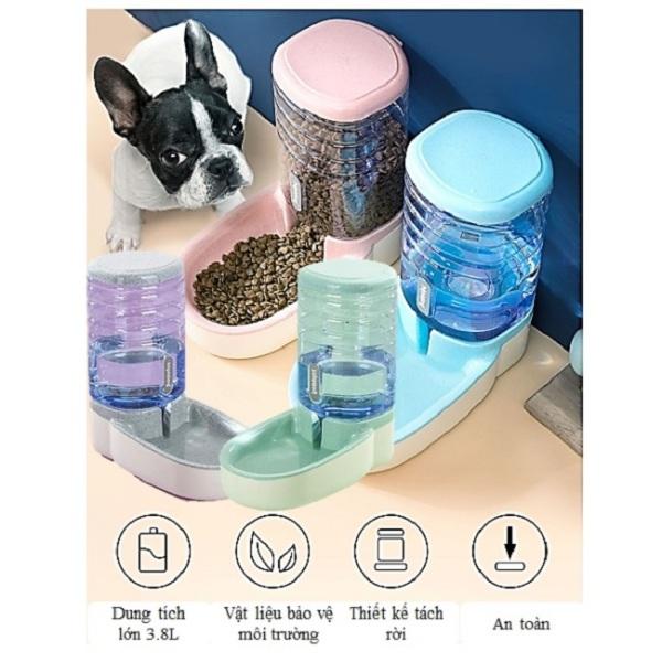 Bát uống nước tự động đa năng cho chó mèo 3.8 lít nhiều màu sắc