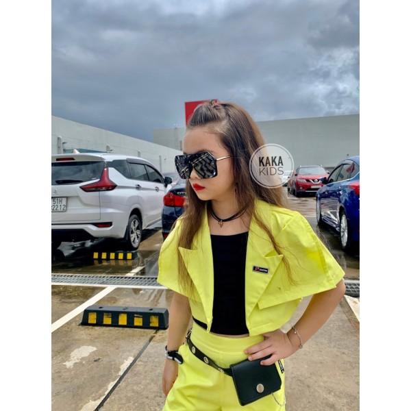 Nơi bán Bộ Vest 3 Chi Tiết Kaki Neon Xanh Nổi Bật Hot Trend Bé Gái