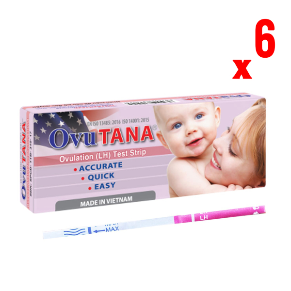 Dụng cụ phát hiện ngày rụng trứng, que thử rụng trứng Ovutana an toàn, chính xác,nhanh chóng, đáng tin cậy, sinh con theo ý muốn - Combo 6 que