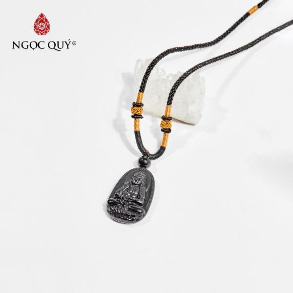 Mặt dây chuyền Phật bản mệnh đá obsidian A Di Đà tuổi Tuất , Hợi 3.6 x 2.3cm (màu đen) - Ngọc Quý Gemstones
