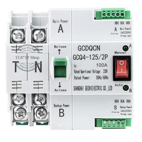 Cầu dao đảo chiều tự động không gây mất điện ATS 2P 100A, bộ chuyển nguồn ATS, cb đảo chiều, bộ chuyển đổi 2 nguồn điện