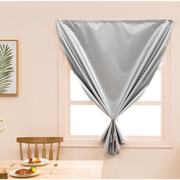 Rèm vải dán tường treo cửa chống nắng tốt 100% vải dày màu bạc