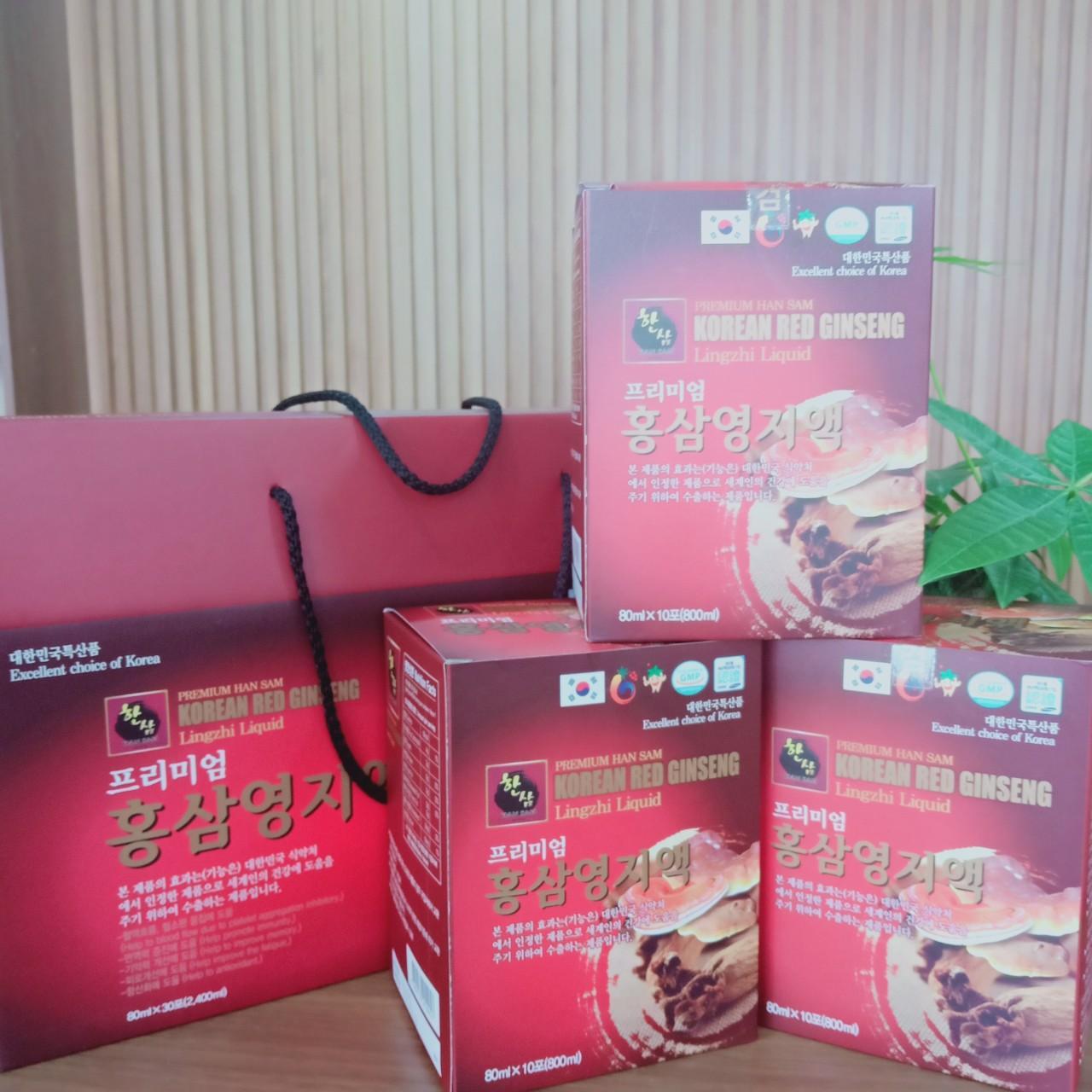 Cao Hồng Sâm Linh Chi Hàn Quốc Cao cấp (hộp 30 gói x 80ml).