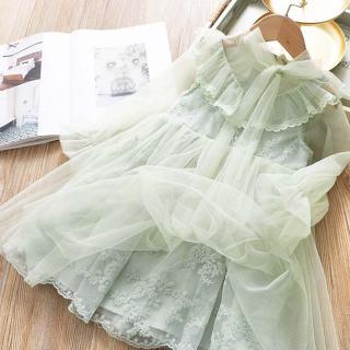 NNJXD Váy bé gái Quần áo cho bé gái thanh lịch Váy lưới dài tay kiểu công chúa cho bé gái Mùa thu Váy bé gái giản dị