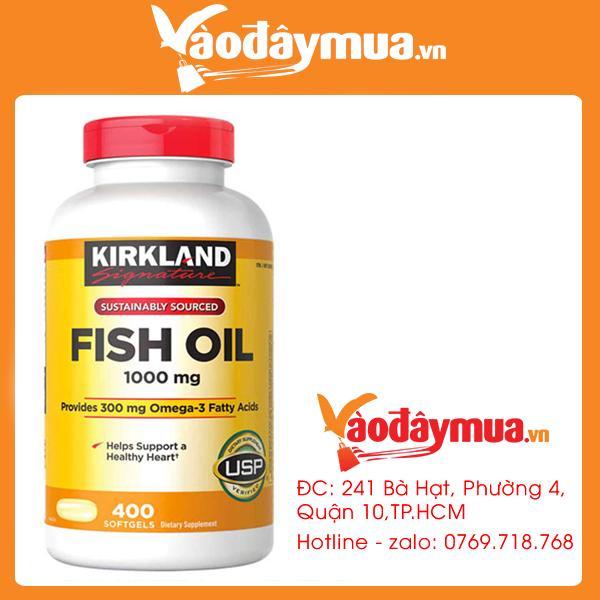 Dầu Cá Kirkland Signature Omega 3 Fish Oil Của Mỹ Loại 1000mg 400 Viên nhập khẩu