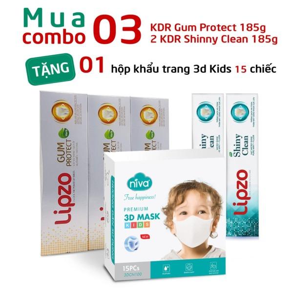 TẶNG 01 Hộp 15 chiếc Khẩu Trang Niva 3D Trẻ em Khi Mua 02 Kem Đánh Răng Shiny Clean 185g, 03 Kem Đánh Răng Gum Protect 185g
