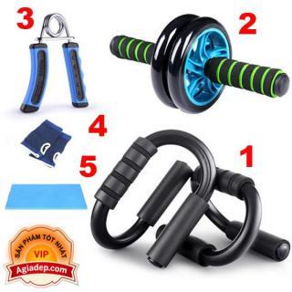 Bộ dụng cụ 5 món tập cơ tay, bụng, hít đất, con lăn - Yêu thể dục thể thao toàn diện của Agiadep thumbnail