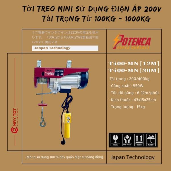 Hàng hot sẵn sll- giá rẻ! Tời Điện T400MN ( PA400 ) lõi đồngloại 12M và 30M BH 6 tháng !