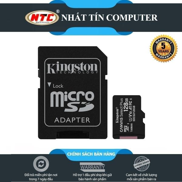 Thẻ nhớ MicroSDXC Kingston Canvas Select Plus 128GB U1 V10 A1 100MB/s (Đen) - Kèm Adapter - Nhất Tín Computer