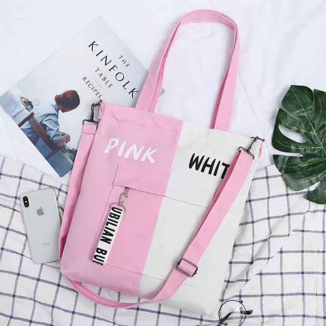 Túi Tote Phối Pink-White Yellow-White Black-White Blue-White Black-Bluss