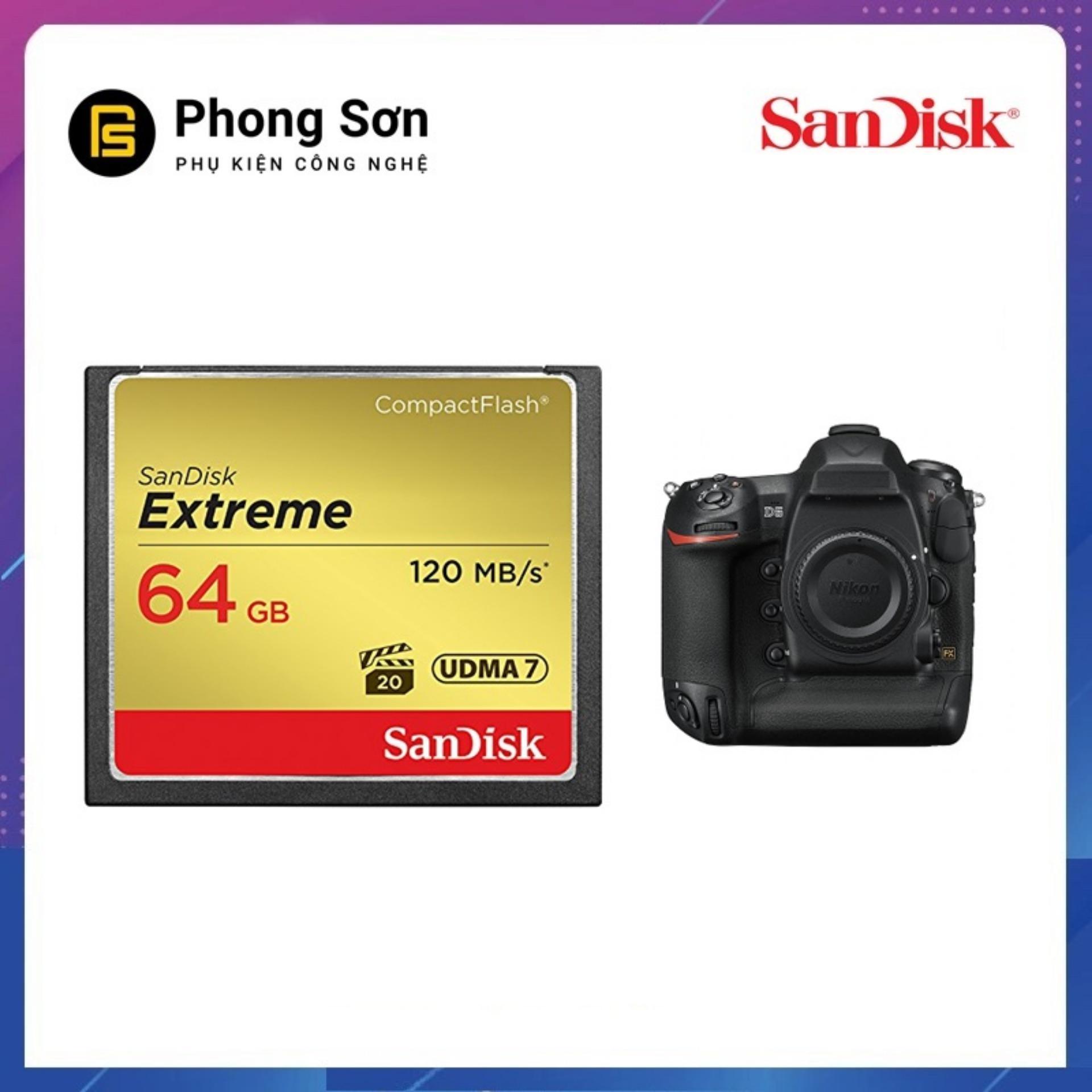 Thẻ Nhớ Cf 64gb Extreme 800x 120mb/s Sandisk By Phongsonphukien.